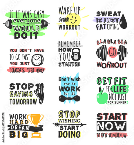 Spoed Foto op Canvas Positive Typography Sport gym, fitness, run motivational text quote phrases design hand drawn element banner gym crossfit trainings motivation text lettering. Work motivate sport concept message workout lifestyle