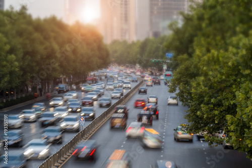 A busy road of  China in the sunset Canvas Print