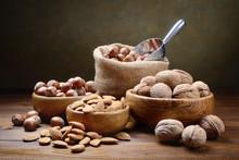 Walnuts, Hazelnuts And Almonds. Dried Fruits