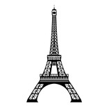 Fototapeta Fototapety z wieżą Eiffla - Vector ink black Eifel Tower hand drawn landmark symbol of Paris, France. Great for french invitations, greeting cards, postcards, gifts.