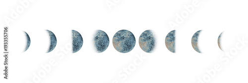 Photographie  Moon phases set watercolor isolated