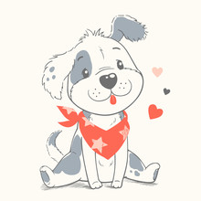 Cute Dog Cartoon Hand Drawn Ve...