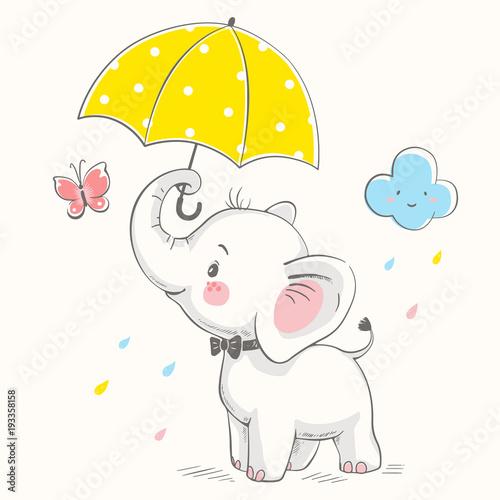 Fototapeta premium Słodki słoń z parasolem kreskówka ręcznie rysowane ilustracji wektorowych. Może być stosowany do nadruku na koszulce dla dzieci, projektowania modowego nadruku, odzieży dziecięcej, powitania z okazji urodzin baby shower i karty z zaproszeniem.