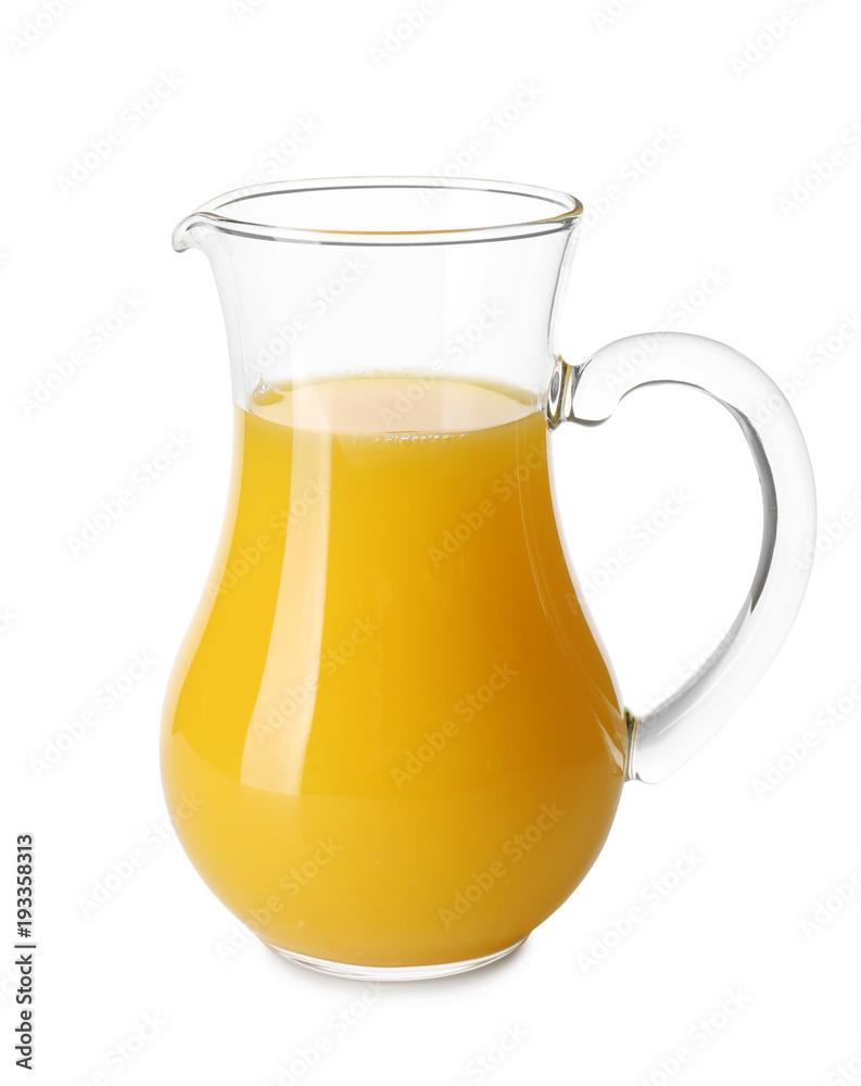 Fototapety, obrazy: Glass jug with fresh orange juice on white background