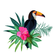 Panel Szklany Ptaki Bird toucan on branch with green tropical palm leaves and hibiscus flower. Vector hand drawn illustration isolated on white background.