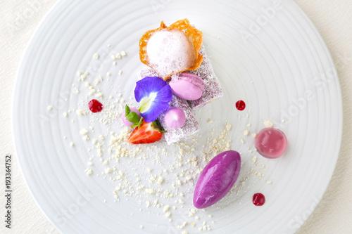Spoed Foto op Canvas Dessert Elegant dessert in plate, molecular gastronomy, haute couture dessert
