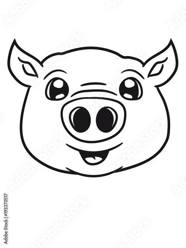 Schwein Gesicht Kopf Süß Niedlich Comic Cartoon Lachen Clipart Buy