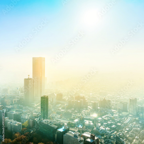 Fototapety, obrazy: Asia Business concept for real estate and corporate construction - panoramic modern city skyline aerial view of Shinjuku area under blue sky in Tokyo, Japan