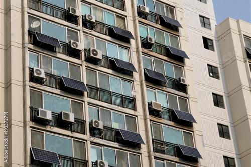 Photo  Solar panels on a apartment