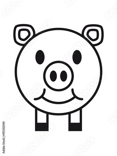 Lcheln Schwein Gesicht Kopf S Niedlich Comic Cartoon Lachen