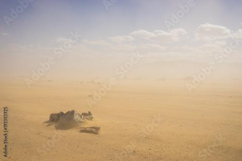 Poster de jardin Desert de sable Rock stones sit in the sand in the middle of a blowing sandstorm.