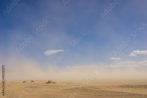 Obraz Wide sand desert in drought climate covered by a windy sandstorm. - fototapety do salonu