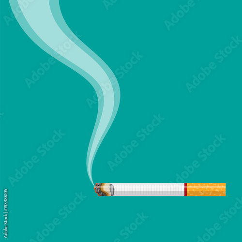 burning cigarette with smoke Fototapet