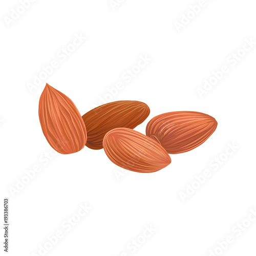 Photo Cartoon icon of dried almond nuts in brown shell