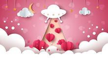 Cartoon Ufo. Love, Heart Illus...
