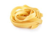 Raw Tagliatelle Pasta Isolated...