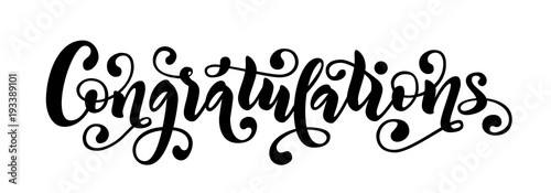 Photo  Congratulations hand lettering quote