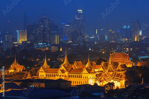 Grand palace at twilight in Bangkok, Thailand Poster