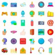 Information message icons set, cartoon style
