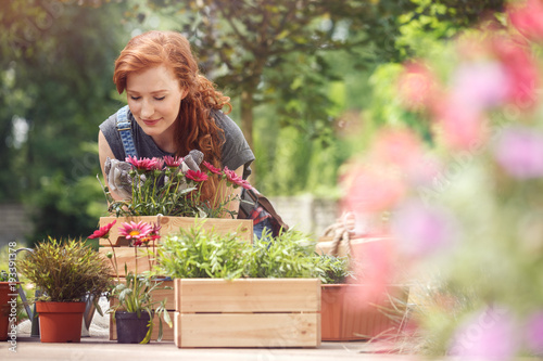 Photo Girl smelling red flowers