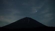 Stars Rising Over Mt. Fuji At Night