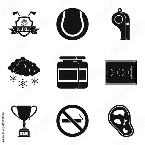 Fotografie, Tablou  Sport clubhouse icons set, simple style