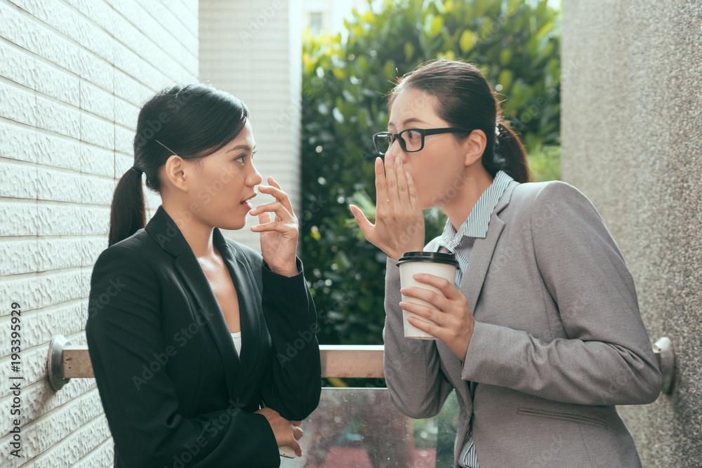 Fototapeta women talking about office gossip