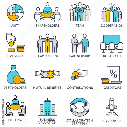 Fotografía  Vector flat linear icons related to business process, team work and human resource management