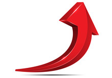 Abstract Red Arrow Symbol 3D C...