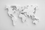 Fototapeta Perspektywa 3d - White paper earth 3d map.