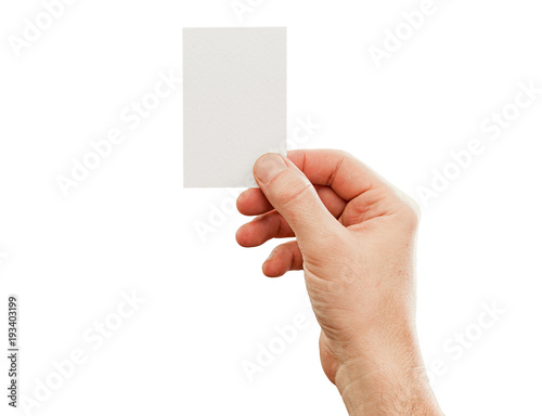 Fotografering  Male hand holding business card, mockup, isolated on white