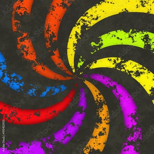 Fotografie, Obraz  Funky radial dark wheel circular swirl lines rainbow colorful rays image