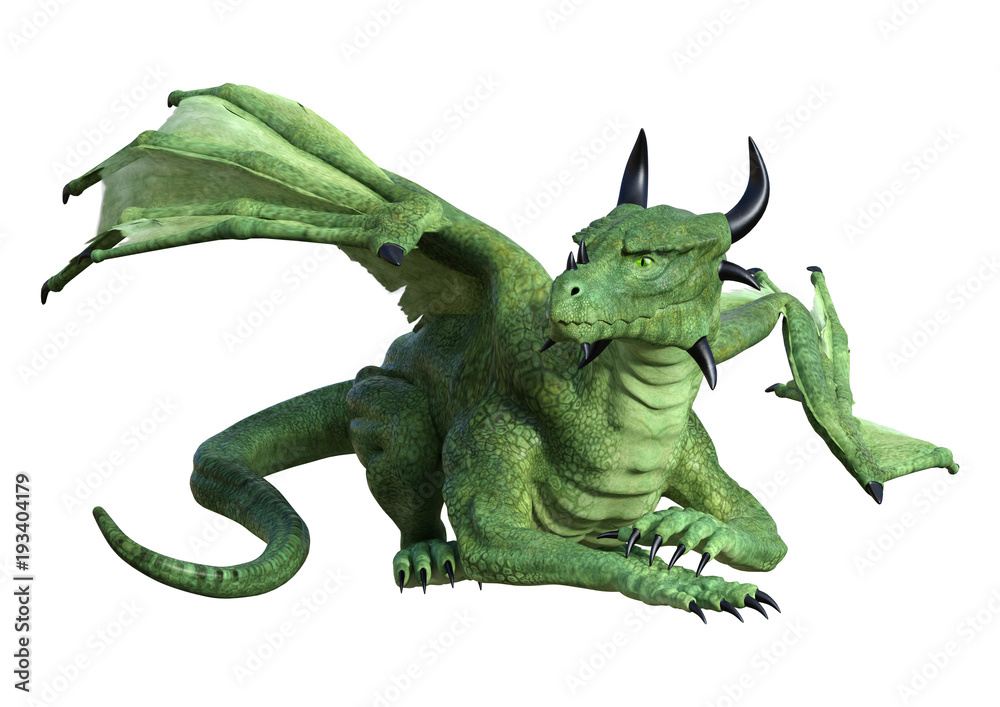 3D Rendering Fantasy Dragon on White