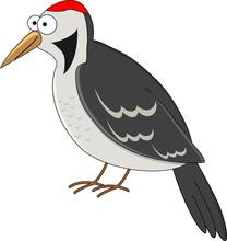 Cute Cartoon Woodpecker. Vecto...