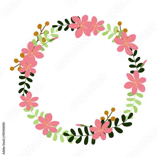 Fototapeta Vector Flower Wreath Floral Frame For Greeting Invitation Wedding Cards Design