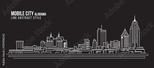 Photo Cityscape Building Line art Vector Illustration design - Mobile city (Alabama)