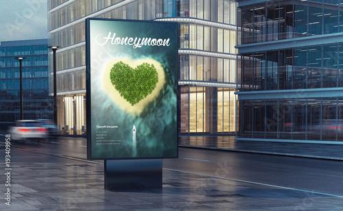 honeymoon billboard on the street