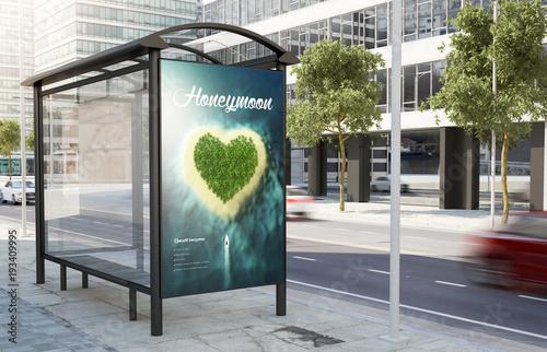 Foto op Plexiglas Oceanië bus stop honeymoon advertising billboard