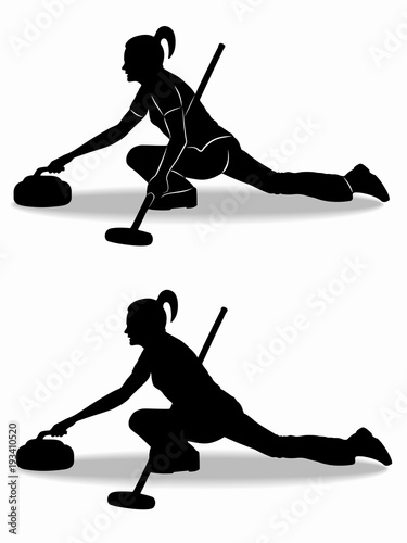 Canvas silhouette of figure curling player , vector draw