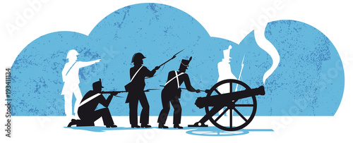 Valokuvatapetti The Battle of Waterloo 1815, french soldiers with cannon