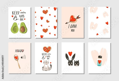 Fototapety, obrazy: Hand drawn vector abstract modern cartoon Happy Valentines day concept illustrations cards set collectionwith cute cats,pizza,hearts,avocado and handwritten calligraphy isolated on white background