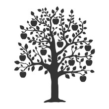 Apple Tree Icon. Flat Vector Illustration In Black On White Background.