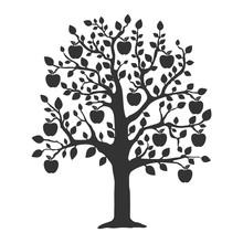 Apple Tree Icon. Flat Vector I...