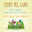Easter poster. Vector illustration. Easter egg hunt invitation flyer or poster. Kids concept poster invitation easter party.