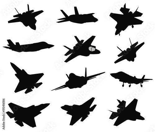 Military aircraft silhouettes collection. Vector Canvas Print