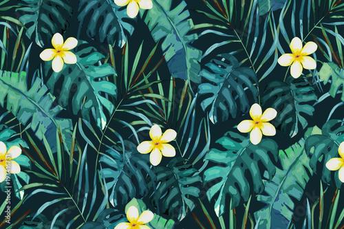 Materiał do szycia Tropikalny wzór. Palm tree liści i kwiatów. Ręcznie rysowane ilustracji wektorowych. Lato na tle