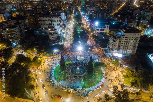 People gather in the Plaza de Banderas in Cochabamba, Bolivia Canvas Print