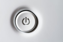 The Power Button Is White. Volumetric White Standby-button With Shadows.