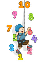 Kid Boy Wall Climb Numbers Illustration