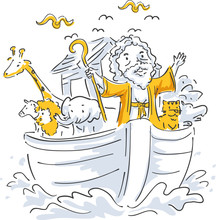 Man Noah Ark Animals Illustration